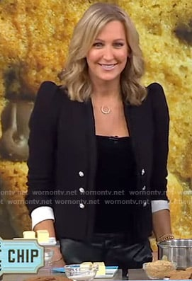 Lara's black tweed puff shoulder jacket on Good Morning America