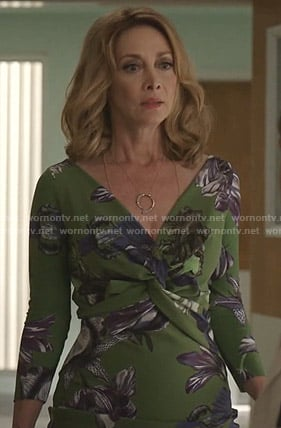 Laura Van Kirk's green floral knot-front dress on Dynasty