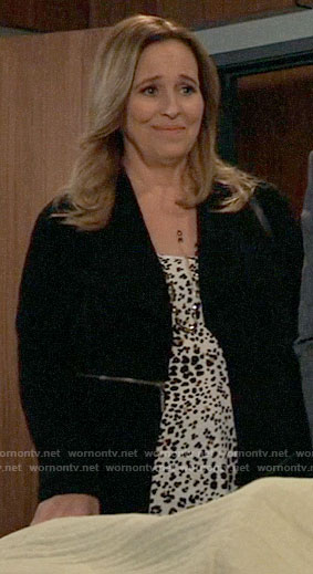 Laura's white leopard print top on General Hospital