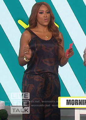 Eve's satin palm leaf print top and pants on The Talk