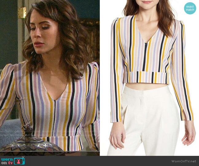 Leith V-Neck Crop Top worn by Sarah Horton (Linsey Godfrey) on Days of our Lives