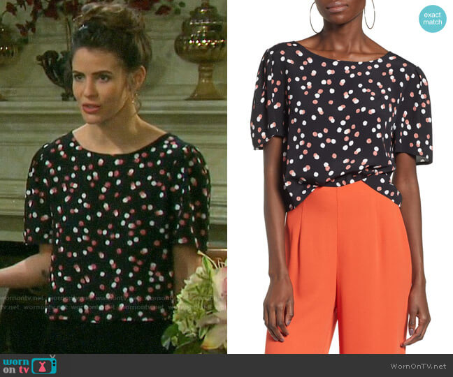 Leith Print Crop Top worn by Sarah Horton (Linsey Godfrey) on Days of our Lives