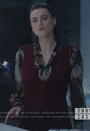 Lena's black floral blouse on Supergirl