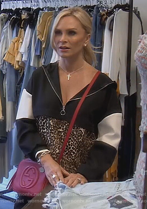 Tamra's leopard colorblock sweatshirt and Gucci bag on The Real Housewives of Orange County