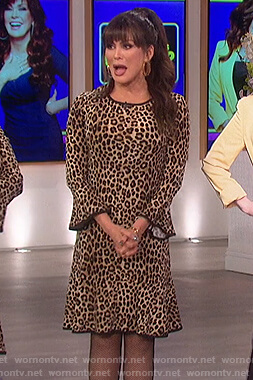 Marie's leopard bell sleeve dress on The Talk
