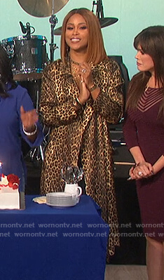 Eve's leopard silk kimono robe on The Talk