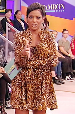 Tamron's leopard silk mini dress on Tamron Hall Show