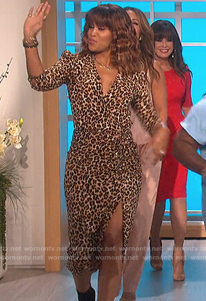 Eve's leopard wrap dress on The Talk