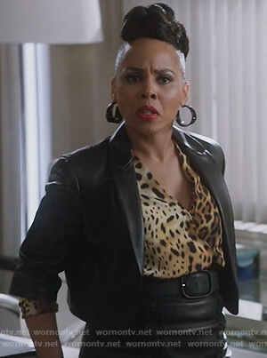 Tegan's leopard wrap bodysuit on How to Get Away with Murder