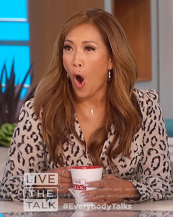 Carrie's leopard zip asymmetric dress on The Talk
