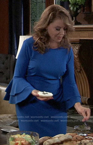 Liesl's blue tiered sleeve dress on General Hospital