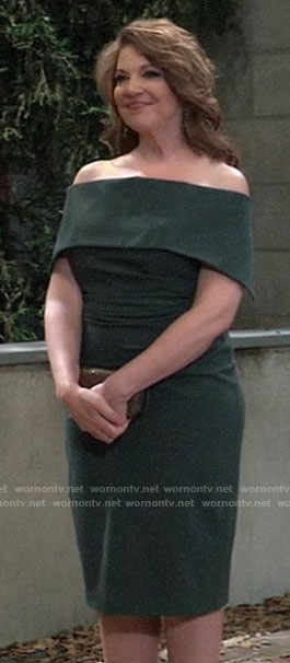 Liesl's green off-shoulder dress at Nina's wedding on General Hospital