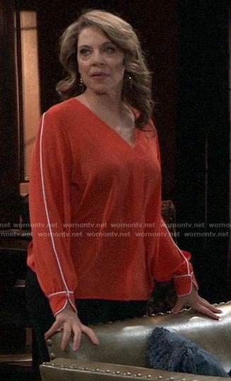 Liesl's red v-neck top with white piping on General Hospital
