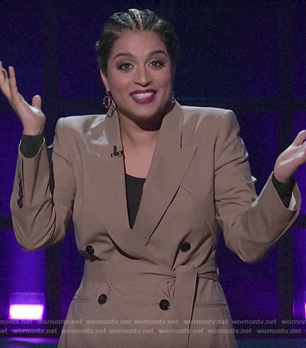Lilly's beige double breasted belted blazer on A Little Late with Lilly Singh
