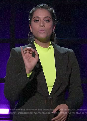 Lilly's black belted blazer and neon top on A Little Late with Lilly Singh