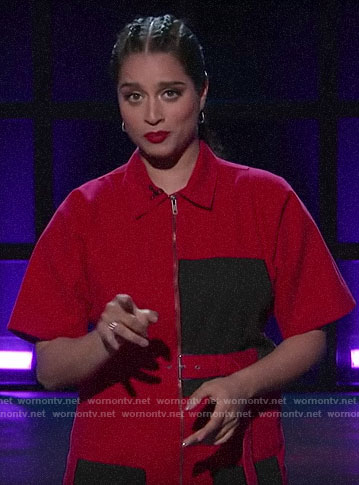 Lilly Singh's red and black colorblock jumpsuit on A Little Late with Lilly Singh