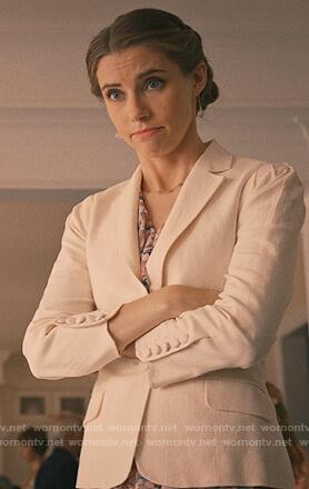 Stevie's cream linen blazer on Madam Secretary