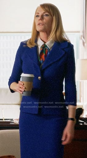 Lisa's blue tweed skirt suit on All Rise