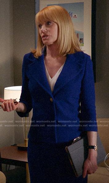 Lisa's blue tweed skirt suit on All Rise