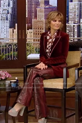 Lisa Rinna's burgundy polka dot blouse on Live with Kelly and Ryan