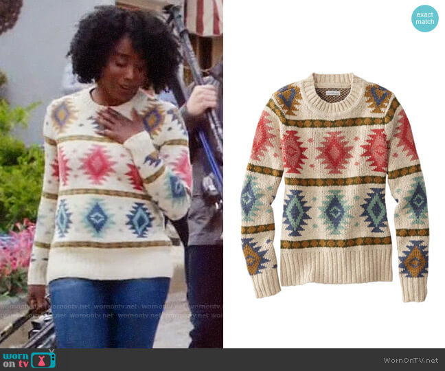 LL Bean Signature Cotton Slub Sweater in Natural Fair Isle worn by Simone Garnett (Kirby Howell-Baptiste) on The Good Place