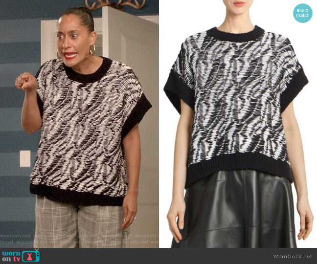 Loewe Textured Short-Sleeve Sweater worn by Rainbow Johnson (Tracee Ellis Ross) on Blackish