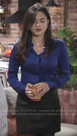 Lola's blue button down shirt on The Young and the Restless