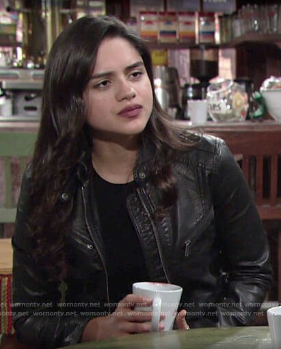 Lola's leather jacket on The Young and the Restless