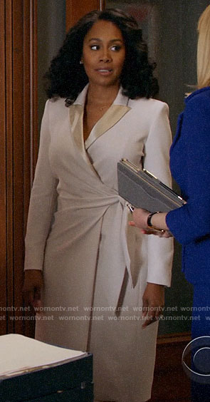 Lola's ivory wrap blazer dress on All Rise