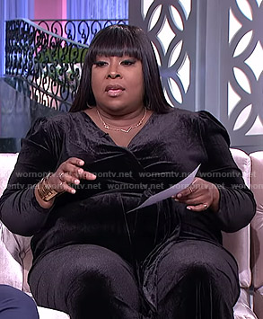 Loni's black velvet jumpsuit on The Real