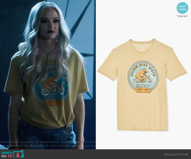 Lucky Brand Golden Bear Moto Tee worn by Caitlin Snow (Danielle Panabaker) on The Flash