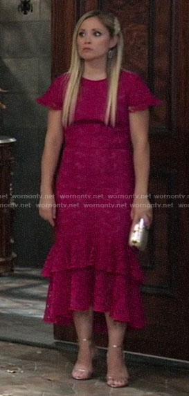 Lulu's pink lace dress at Nina's wedding on General Hospital