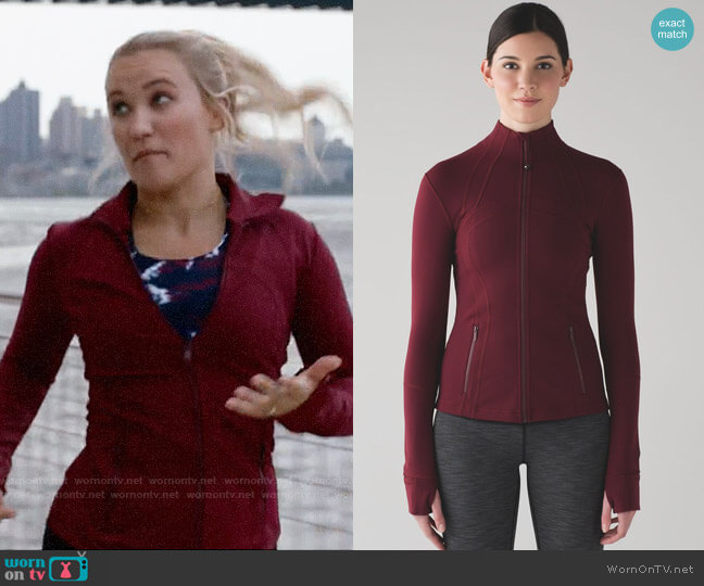 Lululemon Define Jacket in Deep Rouge worn by Roxy Doyle (Emily Osment) on Almost Family