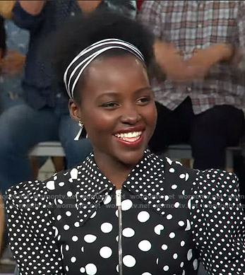 Lupita Nyong'o's black polka dot dress on Good Morning America