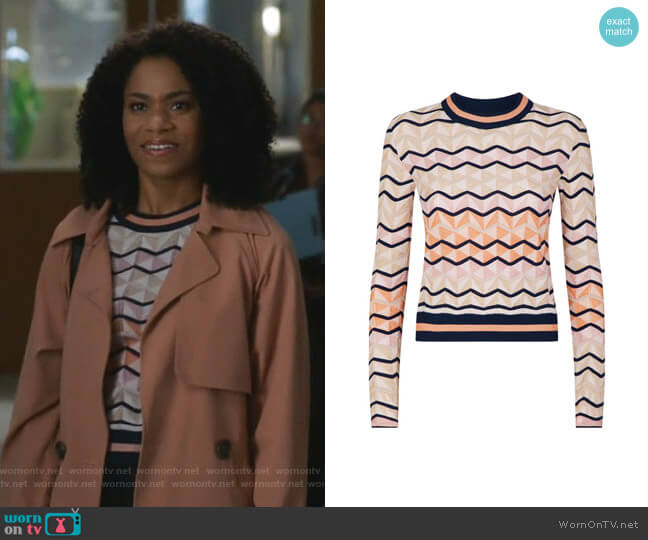 Zig Zag Sweater by M Missoni worn by Maggie Pierce (Kelly McCreary) on Greys Anatomy