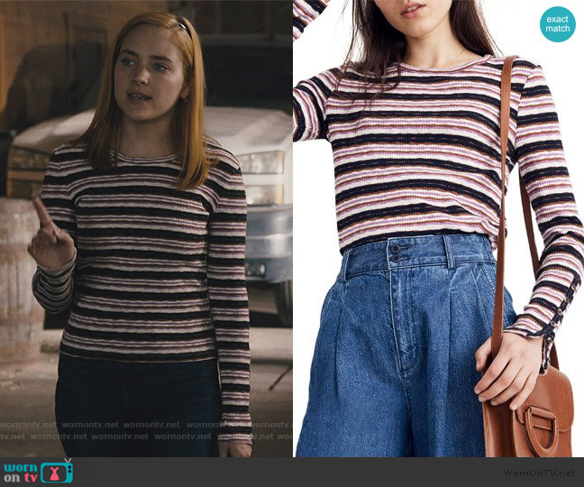 Button-Sleeve Tee in Elsie Stripe by Madewell worn by Violet Simmons (Haley Ramm) on Light as a Feather