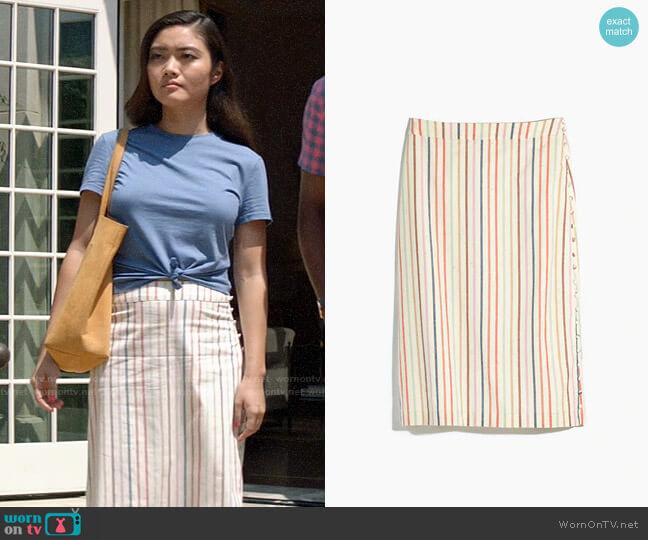 Madewell Button Slit Midi Skirt in Flecked Rainbow Stripe worn by Joy (Jessica Lu) on God Friended Me