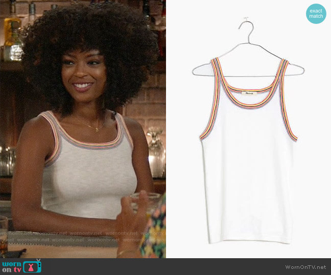 Madewell Rainbow-Trim Tank Top worn by Ali Finer (Javicia Leslie) on God Friended Me