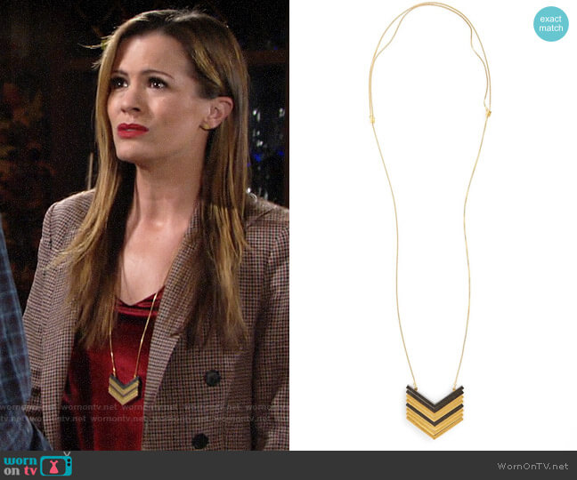 Madewell Arrowstack Necklace worn by Chelsea Lawson (Melissa Claire Egan) on The Young & the Restless