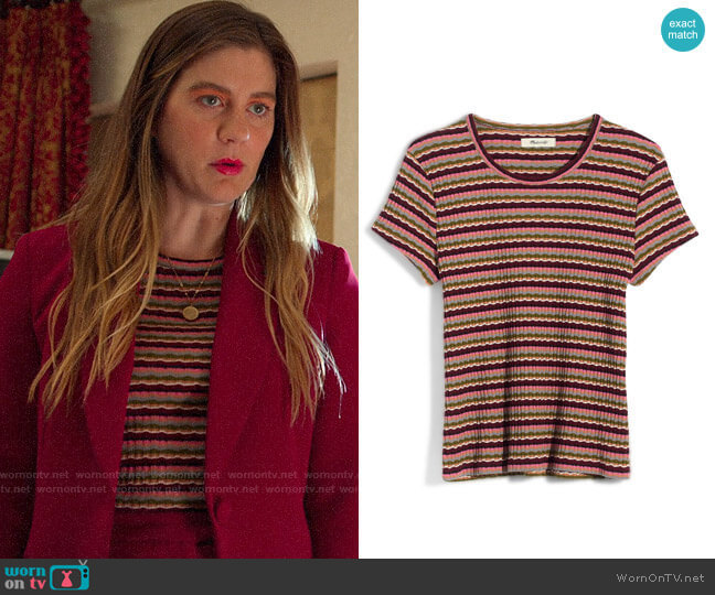 Madewell Ribbed Baby Tee worn by McAfee (Laura Dreyfuss) on The Politician