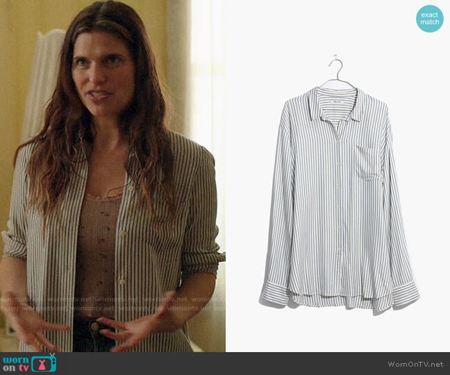 Madewell Tunic Shirt in Dalton Stripe worn by Rio (Lake Bell) on Bless This Mess