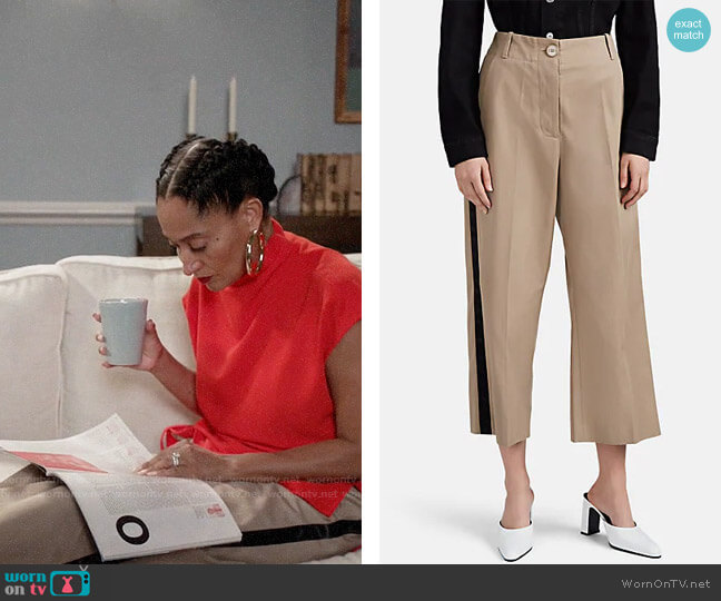 MM6 Maison Margiela Satin-Striped Cotton Crop Wide-Leg Trousers worn by Rainbow Johnson (Tracee Ellis Ross) on Blackish
