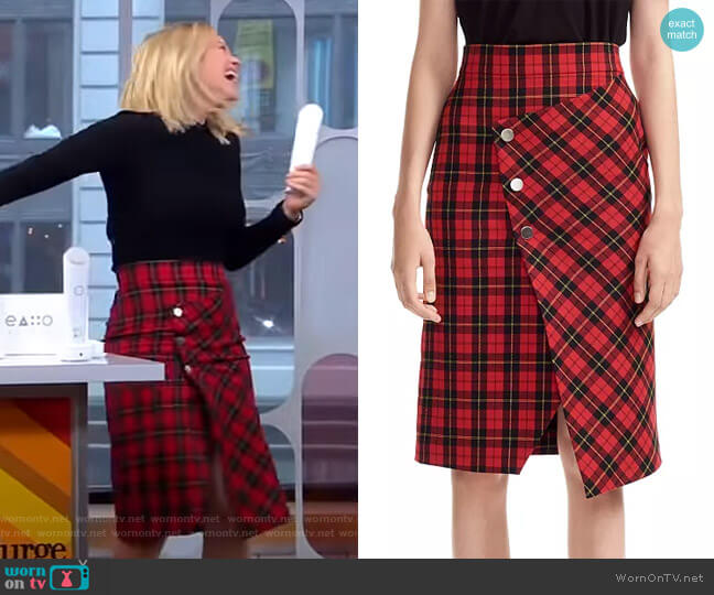 Janty Plaid Skirt by Maje worn by Sara Haines  on Good Morning America