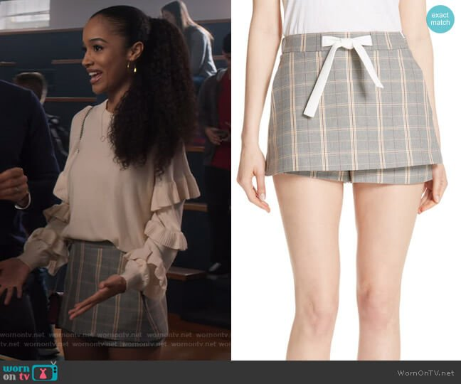Plaid Skirt Front Shorts by Maje worn by Magnolia Barnard (Erinn Westbrook) on Insatiable