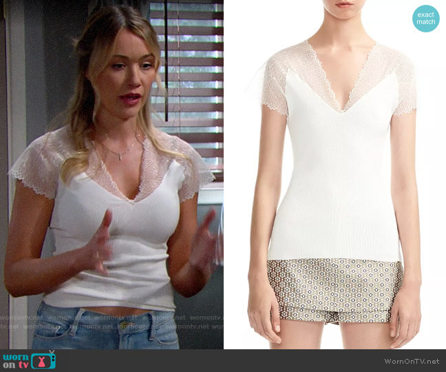 Maje Lilio Top worn by Florence (Katrina Bowden) on The Bold & the Beautiful