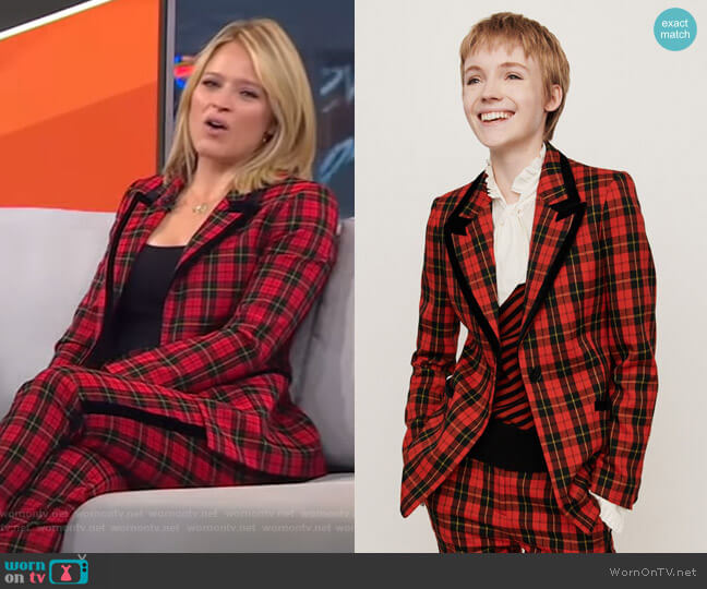 Velvet Piped Plaid Jacket by Maje worn by Sara Haines  on Good Morning America
