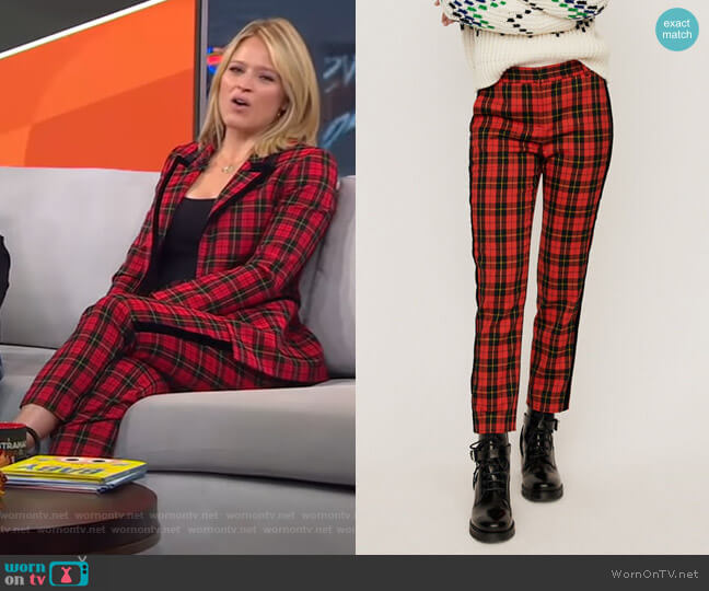 Velvet Piped Plaid Pants by Maje worn by Sara Haines  on Good Morning America