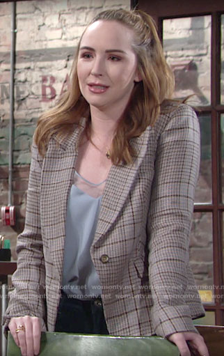 Mariah's blue top and plaid blazer on The Young and the Restless