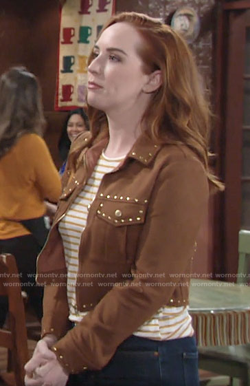 Mariah's studded suede jacket on The Young and the Restless