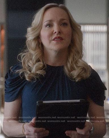 Marissa's blue draped front dress on Bull